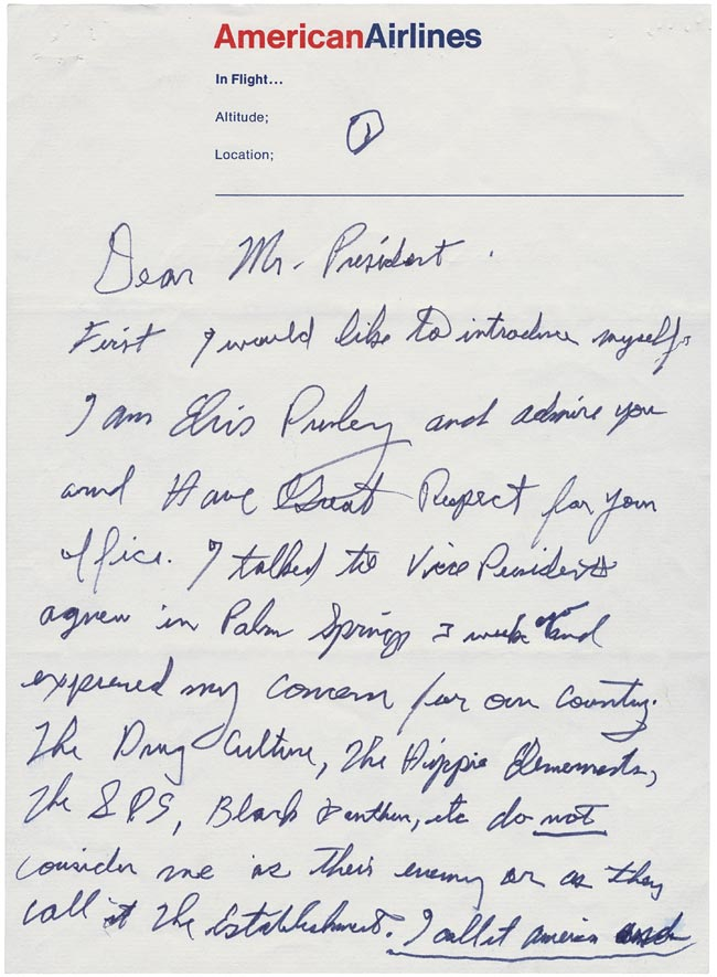 Elvis' Letter to Nixon page 1