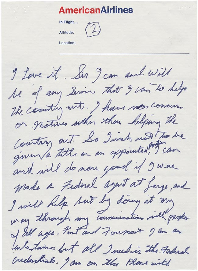 Elvis' Letter to Nixon page 2