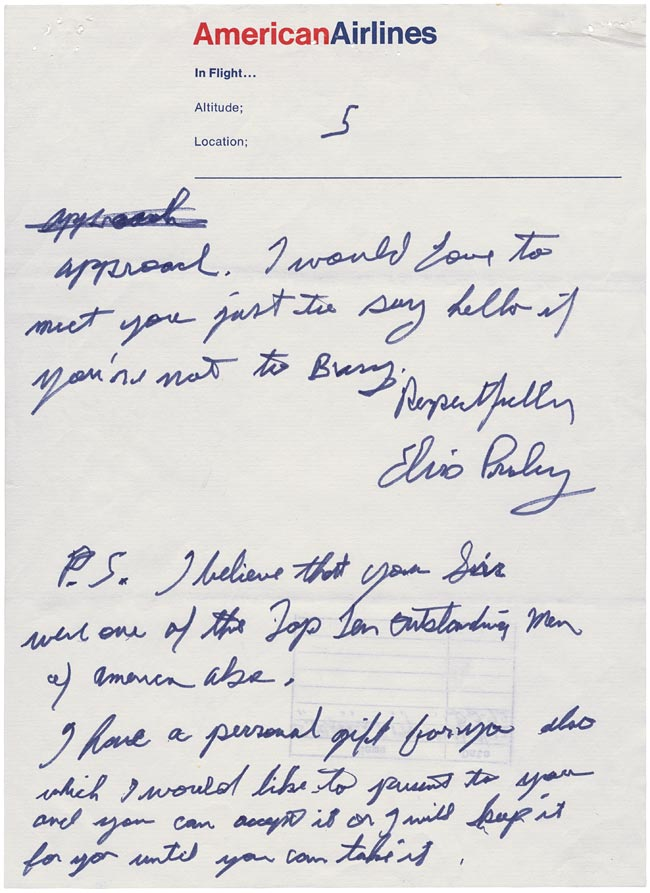 Elvis' Letter to Nixon page 5