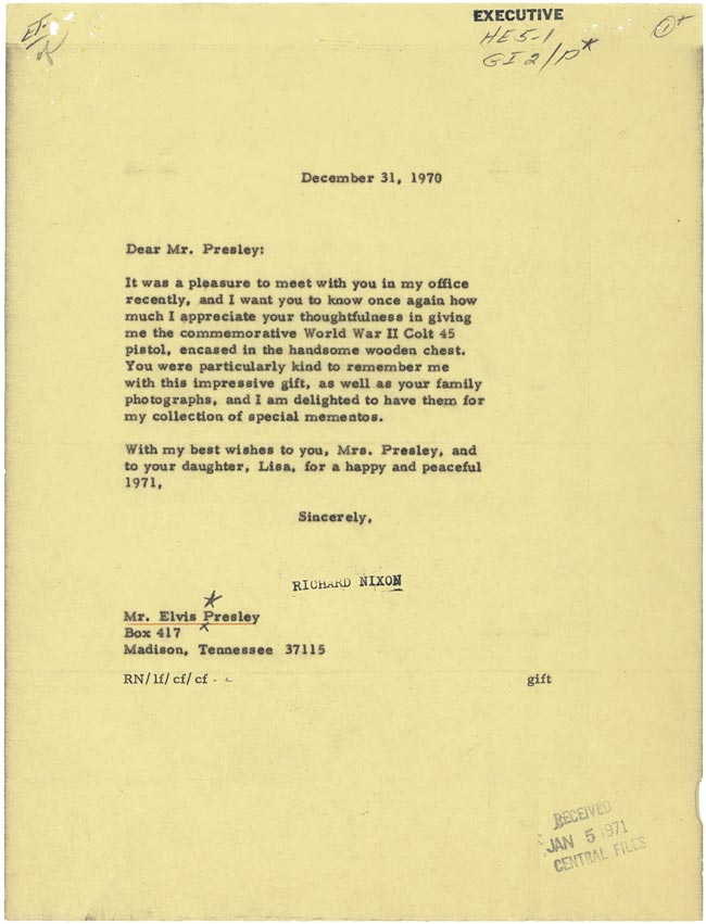 Nixon Thank You Letter To Elvis
